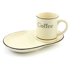 Cream and Black Country Kitchen Ceramic Coffee Mug and Plate Set LP29013