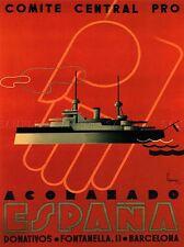 PROPAGANDA BATTLESHIP ESPANA WAR CIVIL SPANISH DONATION AID POSTER 1947PYLV