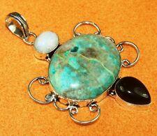 Free Shipping Chrysocolla & Multi Stones Silver Jewelry Pendant S. 7 Cm IJL1-140