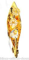 SWAROVSKI Broche couleur or Brin de Muguet cristal blanc bijou brooch