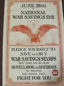 WORLD WAR 1 ORIGINAL NATIONAL WAR SAVINGS DAY  SHIPS  LIBERTY TORCH POSTER