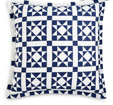 "Calvin Klein Abigail Quilted 22"" X 22"" Navy Blue/White Decorative Pillow"