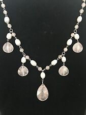 New Sterling Silver Pink quartz Stone of Love Necklaces and beads Necklace 18""