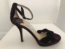 JIMMY CHOO Wine/Burgundy Velvet Strappy Platform Sandal Heels Sz 39/US 9 $600