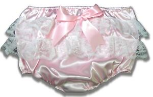 CUSTOM FIT Lacy Butt Satin Adult Sissy Baby Rhumba Panties Diaper Cover LEANNE