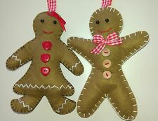 Mr & Mrs GINGERBREAD MAN & LADY handcrafted felt Christmas tree decorations NEW