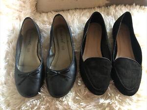 Flat Shoes Size Uk 6 - Eur 39 - Black - 1 X New Look - 1 X Boulevards -Fabulous