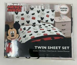 Disney Mickey Mouse 3 Pieces Twin Sheet Kids Set Set Black White Red New