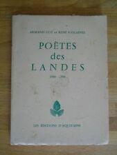 POETAS LAS LAS LANDAS 1900 - 1958 EDICIONES D'DE AQUITANIA POESÍA