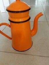 cafetière émaillée vintage color  orange