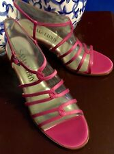 SAM & LIBBY Strappy Georgia Sling Back Satin Heels Shoes Pink 9.5M NIB PERFECT!