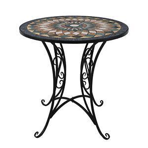 Massiver Mosaik Bistrotisch rund Ø60xH72cm Mosaiktisch Gartentisch Beistelltisch