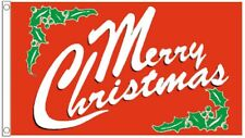 Merry Christmas Traditional Red Berry Holly Banner 3'x2' Flag