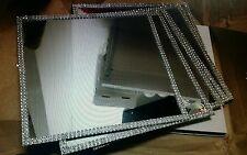 10 Square Mirror Wedding Centrepiece Bases With Diamonte Trim 20cm