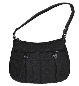 Vera Bradley Pocket Hobo Bag Circle Quilted Black Shoulder Purse Handbag