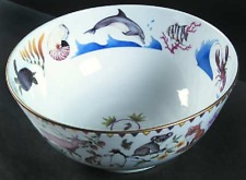 Lynn Chase HARMONY Porcelain Gold-Trimmed Centerpiece Bowl Serving Bowl 1998