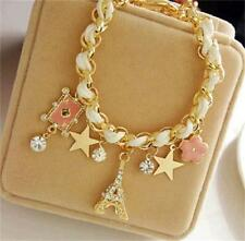 Lady Eiffel Tower Star Charms Gold Metal Chain Bracelet Bangle