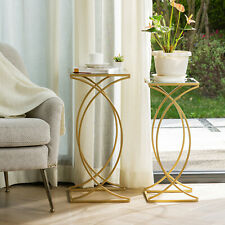 Glitzhome Set of 2 Glass Gold Accent End Coffee Sofa Side Table Elegant Artistic