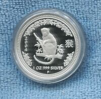2004 PROOF Australia Lunar Year of the Monkey 1oz Silver $1 Coin in capsule