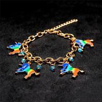 Women's Multicolor Horse Unicorn Charm Beads Link Chain Bracelet Jewelry Q