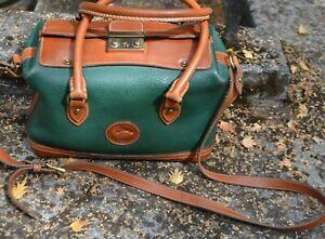 Vintage 90s Dooney & Bourke Pebbled Leather Green Doctor Bag Satchel Purse