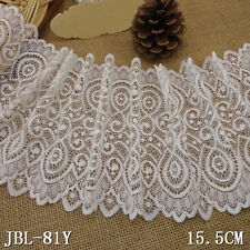 """1 Yard White Eyelet Scalloped Rereo Stretch Lace Trim For Craft Lingerie Wide 7"""""""