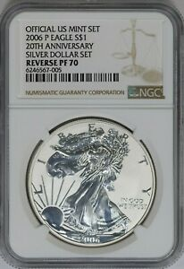 2006-P NGC American Silver Eagle Reverse Proof PF70 20th Anniversary Dollar Set~