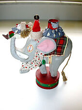 Beautiful Antique Hand Made Folk Art Christmas Elephant Candle Holder