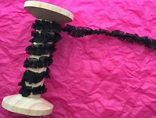 15mm Black Organza Box Pleat Ruffle Ribbon Trim - Metre
