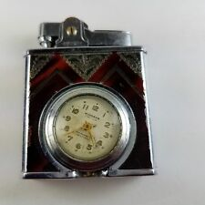 Art Deco Windsor DeLuxe Lighter With Time Lite Clock Project Or Parts