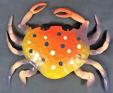 Crab hand painted Metal wall hanging coral & purple color sea life decor