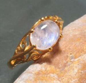 Gold plated brass everyday rainbow moonstone ring UK R/US 8.75. Gift bag.