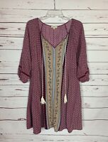 Kori America Boutique Women's L Large Purple Boho 3/4 Sleeves Spring Tunic Top