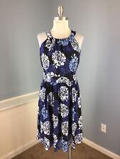Banana Republic M 8 Blue Floral Dress Stretch Casual Career fit Flare Black EUC