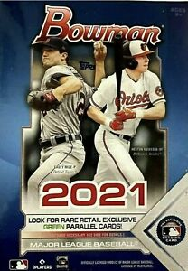 2021 Topps Bowman Baseball Series Blaster Box of Packs Exclusive Green Parallels