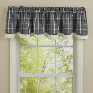 """1 Beaumont Gray Plaid Country Cotton Lined Layered Valance 72"""" x 16"""""""