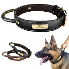 Genuine Leather Dog Personalised Collar Name Tag Engraved Heavy Duty with Handle