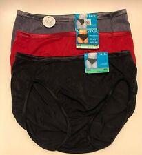 NWT 3 Vanity Fair Illumination 13108 Hi-Cut Panties Red Black Gray Size 8/XL