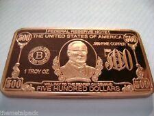 1 oncia Rame Copper 999 Lingotti di come 500$ $ Delle banconote Bill Feinkupfer