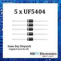 5 x Vishay UF5404 Ultrafast Plastic Rectifier 400V 3A 1V 150A 150 °C - Pack of 5