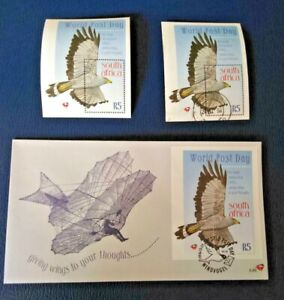 South Africa 1998 World Post Day R5 Miniature sheet Mint, Used and FDC