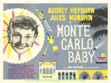 MONTE CARLO BABY MOVIE POSTER AUDREY HEPBURN B.QUAD