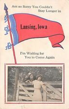 """Waiting for You to Come Again"" to Lansing Iowa~Couple on Fence~1917 Pennant PC"