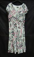 Jeff Banks white floral/leaf crepe feel swing bottom short sleeve dress Size 18