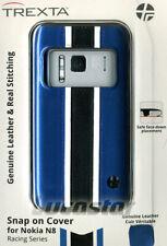 FUNDA para Nokia N8 Trexta Serie Racing Azul Piel