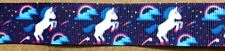 "UNICORN BLUE Animal 7/8"" Grosgrain Ribbon By the yard for Scrapbooking Hair Bow"