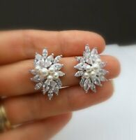 1.5CT Marquise Round Cut Pearl 14k White Gold Over Cluster Diamond Stud Earrings