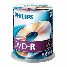 100 Philips DVD-R DVD - 100 Blank Recordable DVD Discs 16x 4.7GB
