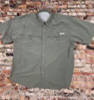 Columbia PFG Men's Size L Khaki Button Front short Sleeve Shirt #5D5