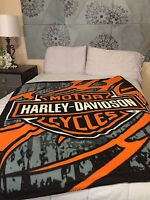 Harley Davidson Jagged Edge fleece blanket  throw NEW